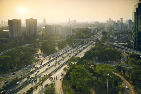 Aerial view of new Semanggi road intersection in the central business. shot at sunset time
