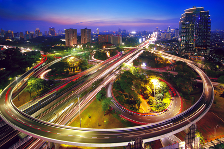 Aerial view of a beautiful Semanggi interchange overpass in the nighttime. shot in Jakarta, Indonesia