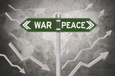 Green signboard with decision of war or peace and world map in the background Stock Photo