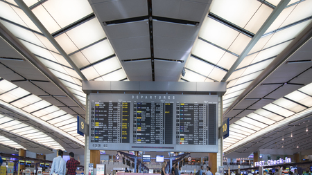 Singapore. November 01, 2017: Picture of flight schedule information of Changi Airport Singapore