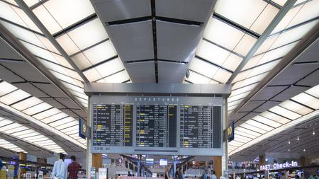 Singapour. 01 novembre 2017: Photo des informations sur les horaires de vol de l'aéroport de Changi à Singapour