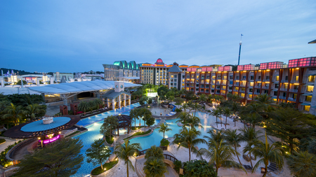 Singapore. November 01, 2017: Beautiful landscape of Hard Rock Hotel Singapore in Sentosa Island