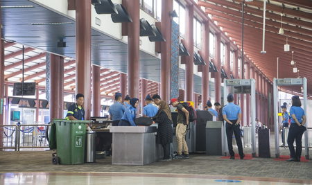 JAKARTA, Indonesia. November 01, 2017: Image of passengers in airport security checkpoint in Soekarno Hatta Airport Jakarta Editorial