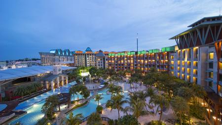 Singapore. November 01, 2017: Beautiful view of Hard Rock Hotel at night in Sentosa Island Singapore