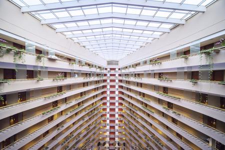 Singapore. November 01, 2017: Interior of the Atrium in Marina Mandarin Hotel Singapore