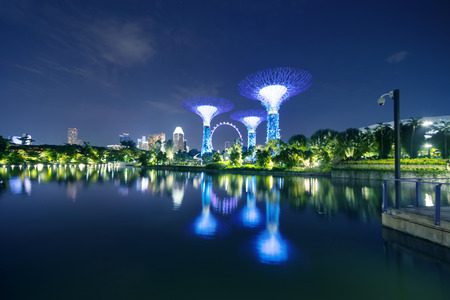 Singapore. November 06, 2017: Beautiful landscape of Supertrees Grove and Singapore Flyer from Gardens by the Bay with reflection on the dragonfly lake at night Éditoriale