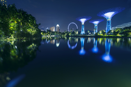 Singapore. November 06, 2017: Beautiful landscape of Singapore Flyer and Supertrees Grove reflection on the Dragonfly Lake from Gardens by the Bay Éditoriale