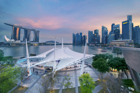Singapore. November 06, 2017: Beautiful landscape of Esplanade Outdoor Theatre and Marina Bay Sands Hotel Singapore