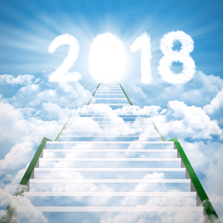 Image of empty stair toward to clouds shaped numbers 2018 with bright door