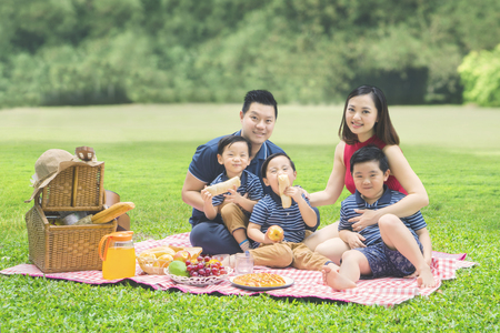 Picture of cheerful family smiling at the camera while picnicking together in the park