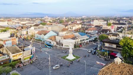 Yogyakarta, Indonesia. February 09, 2018: historical building of Tugu Yogyakarta at the interchange