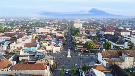 Yogyakarta, Indonesia. February 09, 2018: beautiful aerial view of Tugu Yogyakarta at morning time