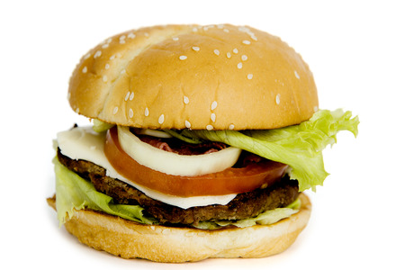 Closeup of tasty big burger with steak meat, isolated on white background