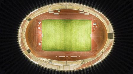 Top view of beautiful football field of Gelora Bung Karno stadium in Jakarta, Indonesia Фото со стока