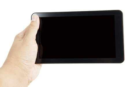 Picture of unknown man holding a mobile phone with blank screen, isolated on white background Stock Photo