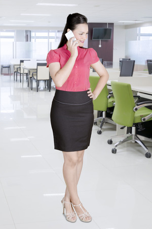 Beautiful caucasian business woman at office