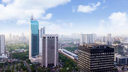 JAKARTA, Indonesia. January 27, 2018: Aerial view of Jakarta modern buildings in Sudirman CBD area Editorial