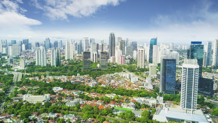 Aerial view of beautiful Jakarta downtown under blue sky at morning time Stock Photo