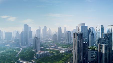 Jakarta, Indonesia. February 22, 2018: Beautiful cityscape in Jakarta downtown under blue sky