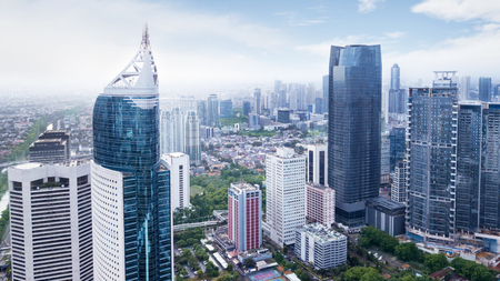 JAKARTA, Indonesia. January 27, 2018: Aerial view of Jakarta office buildings in Sudirman Central Business District shot from a drone at mid day