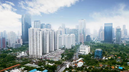 JAKARTA - Indonesia. March 12, 2018: Apartment and office buildings at Jakarta Central Business District near Sudirman Road