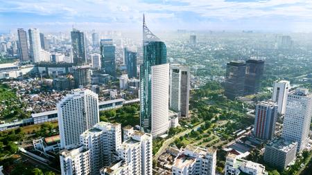 Jakarta, Indonesië. 12 maart 2018: Luchtfoto van iconische BNI 46-toren met gelegen in het centrale zakendistrict van Zuid-Jakarta, Stockfoto