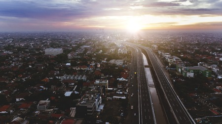 Beautiful aerial sunset view of Becakayu Toll way in East Jakarta, Indonesia