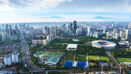 JAKARTA - Indonesia. March 26, 2018: Football stadium of Gelora Bung Karno in Jakarta downtown Редакционное