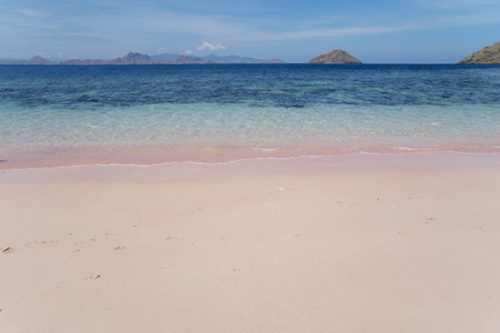 Beautiful landscape of pink beach with turquoise water at East Nusa Tenggara