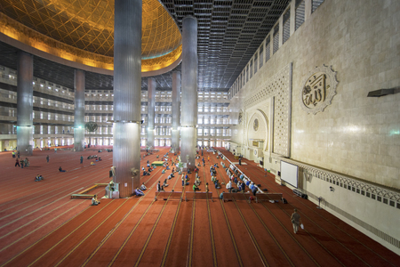 JAKARTA - Indonesia. April 02, 2018: Muslim people ready for doing Salat in the Istiqlal mosque Editorial