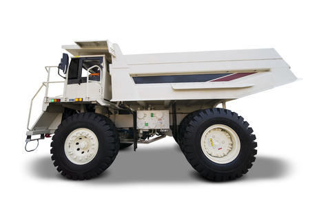 Image of haul truck with white color, isolated on white background Stock Photo