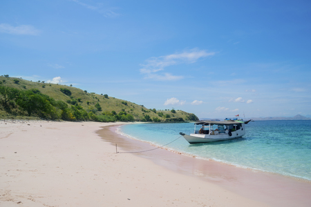 Image of tourist boat anchored on the pink beach at East Nusa Tenggara, Indonesia