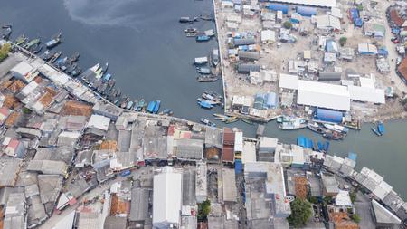 JAKARTA - Indonesia. April 04, 2018: Top view of slum houses at old harbour Sunda Kelapa of Jakarta, Indonesia