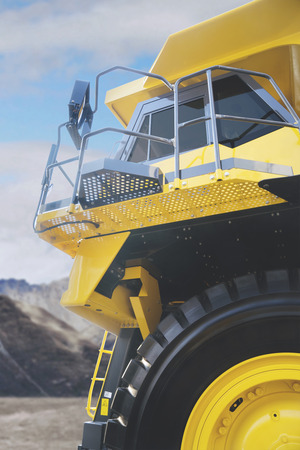 Low angle view of haul truck parked in the construction site