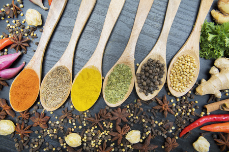 High angle view of wooden spoons with various spices on the table