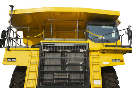 Image of heavy mining truck with yellow color, isolated on white background