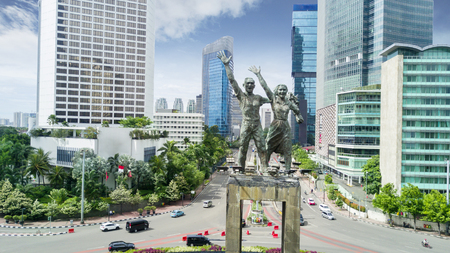 Beautiful aerial view of Selamat Datang monument or Welcome monument in the Hotel Indonesia Roundabout Stock Photo