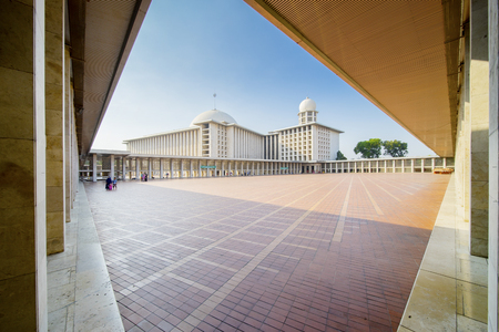 JAKARTA - Indonesia. April 02, 2018: Exterior view of largest Istiqlal mosque in Jakarta, Indonesia Editorial