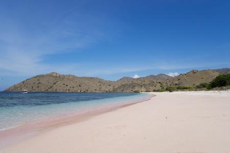 Beautiful scenery of pink beach under blue sky at East Nusa Tenggara, Indonesia