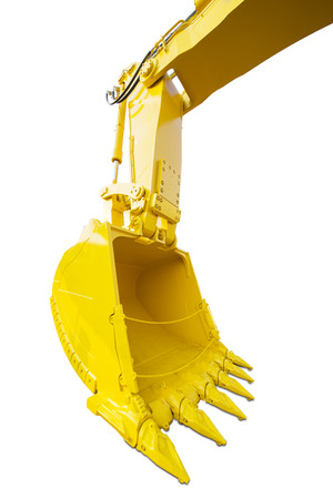 Close up of new excavator shovel with yellow color, isolated on white background