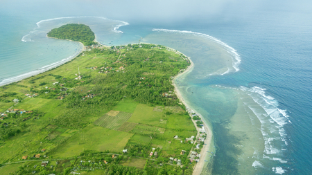 Beautiful aerial view of Ujung Genteng beach from a drone at Sukabumi, West Java, Indonesia Stock Photo