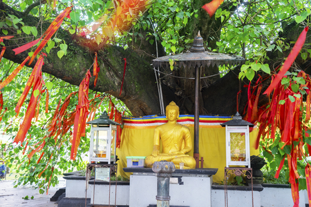 SEMARANG - Indonesia. April 09, 2018: Golden Buddha sculpture with red Chinese talisman hanging on the Bodhi tree