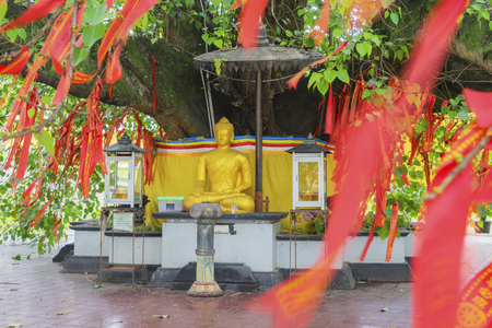 Picture of red Chinese talisman hanging on the Bodhi tree with golden Buddha sculpture in Buddhist temple at Semarang, Indonesia