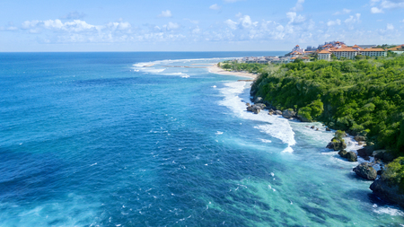 Beautiful seascape at Nusa Dua beach with turquoise water in Bali, Indonesia