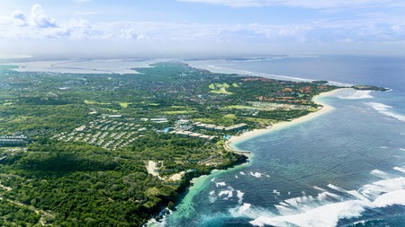 Aerial view of famous Nusa Dua beach with turquoise water in Bali, Indonesia