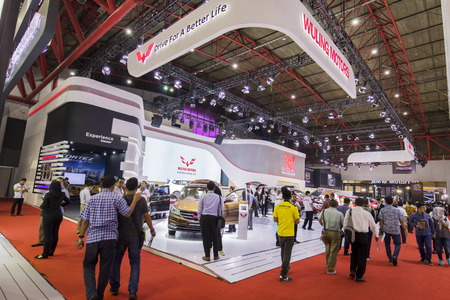 JAKARTA - Indonesia. May 02, 2018: Crowded visitors visiting Wuling Motors booth at the exhibition of Indonesia International Motor Show Editorial