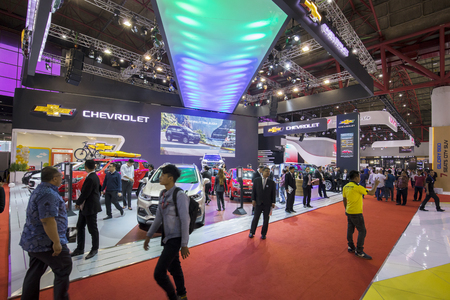 JAKARTA - Indonesia. May 02, 2018: Image of crowded people visiting Chevrolet booth at the exhibition of Indonesia International Motor Show
