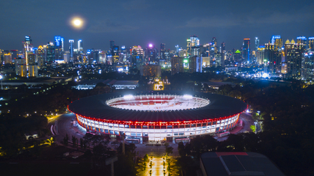 Jakarta, Indonesia. February 20, 2018: beautiful Gelora Bung karno for the Asian Games 2018 Redactioneel