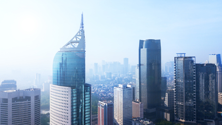 Aerial view of office buildings in Jakarta Central Business District. Shot in the misty morning Stock fotó
