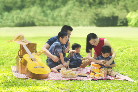 Portrait of young parents enjoying holiday while picnicking with their three sons in the park